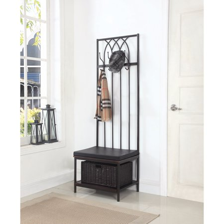 Transitional Metal Hall Tree With Storage Bench Black