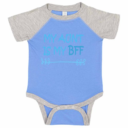 "Adorable Aunt Baseball Bodysuit Raglan ""My Aunt Is My Bff"" Cute Best friend Newborn Shirt Gift - Baby Tee, 18-24 months, Blue & Grey Short (Best Month To Visit Giverny)"