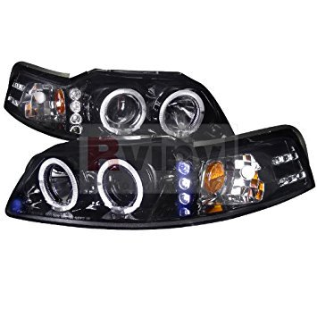 Spec-D Tuning Ford Mustang 1999 2000 2001 2002 2003 2004 LED Halo Projector Headlights - Black (2001 Ford Mustang Headlights)