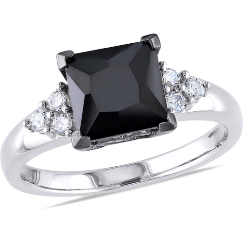 4-2/3 Carat T.G.W. Black and White CZ Sterling Silver Engagement Ring
