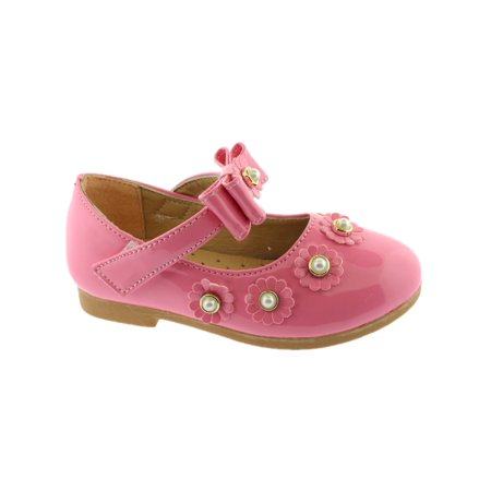 Kate Girls Pink Flower Pearl Bow Strap Mary Jane Shoes](Pink Girls Shoes)