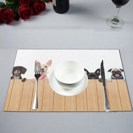 MKHERT Funny Different Puppy Dogs behind a Blank Banner Placemats Table Mats for Dining Room Kitchen Table Decoration 12x18 inch,Set of (Puppies Placemat)