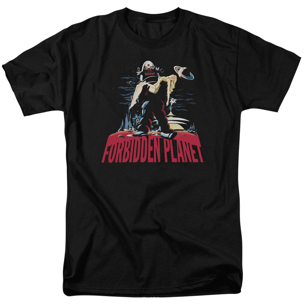 Forbidden Planet Robby And Woman Mens Short Sleeve Shirt