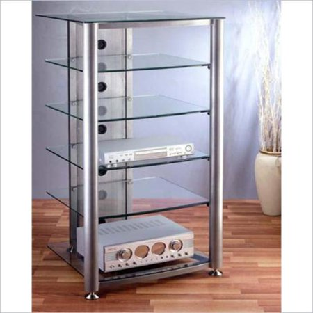 VTI RGR Series 6 Shelf Audio Rack-Silver Frame / Frosted Shelves