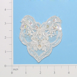 "Expo 3 1/4"" x 3 1/2"" Corded Bridal Lace Applique"