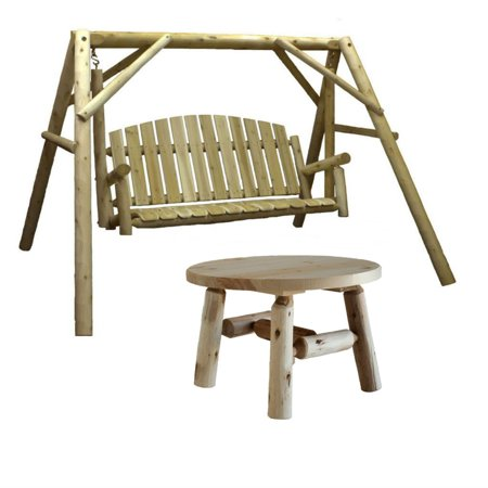 Lakeland Mills Country Cedar Outdoor Porch Swing and Stand Set with Round Table ()