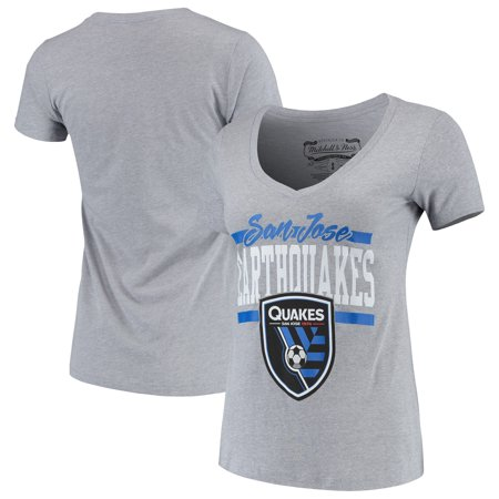 new product d028f 6aa5d San Jose Earthquakes Mitchell & Ness Women's MVP Bar Graphic T-Shirt - Gray