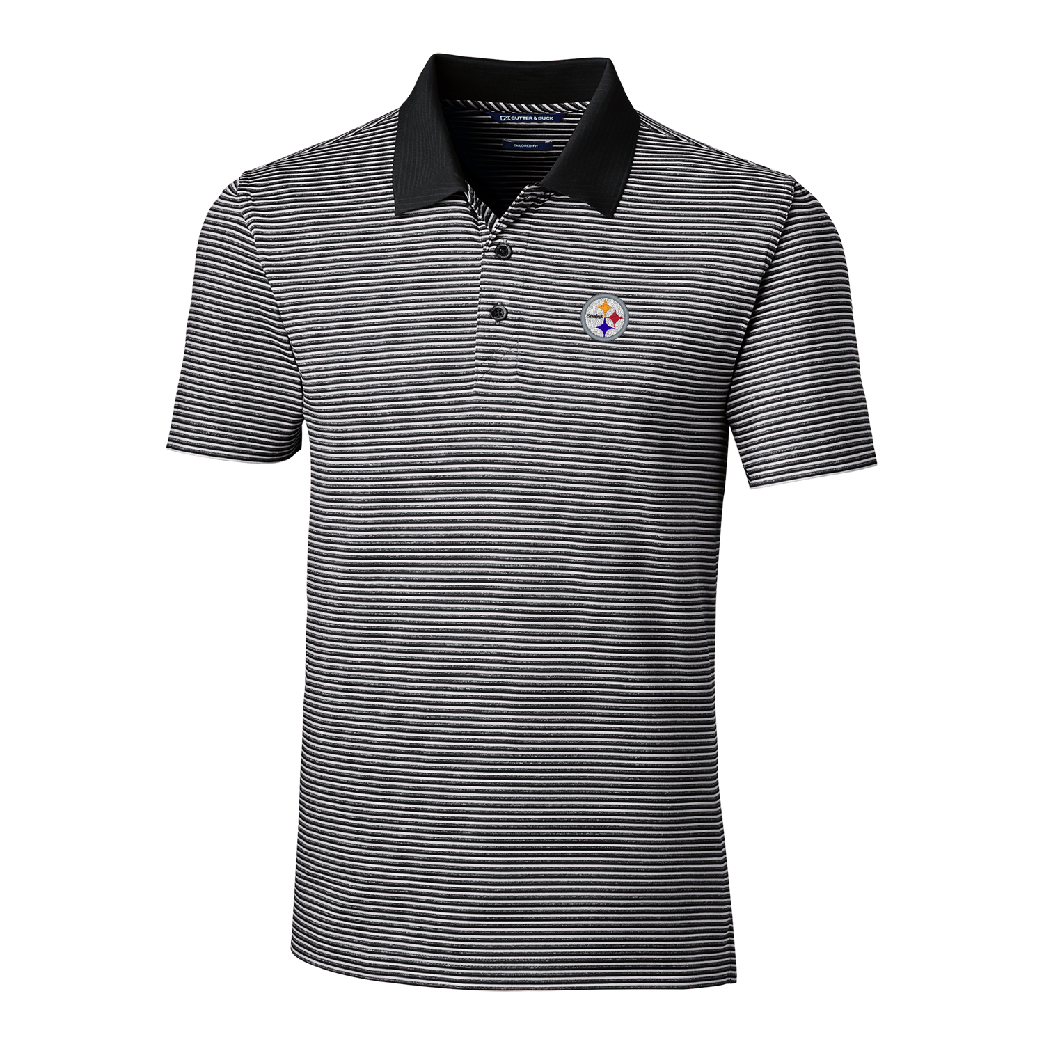 Pittsburgh Steelers Cutter & Buck Forge Tonal Stripe Tailored Fit Polo - Black