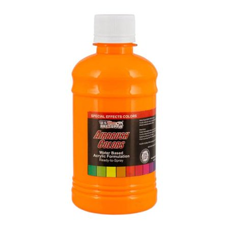 US Art Supply 8-Ounce Special Effects Neon Orange Airbrush Paint