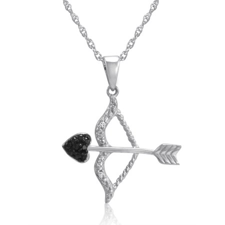 Black and White Diamond Bow and Arrow Pendant in .925 Sterling - Bow Cross Pendant