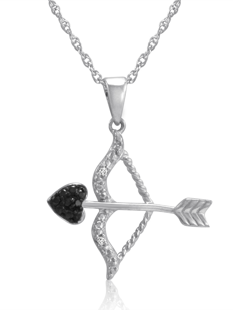 Black and White Diamond Bow and Arrow Pendant in .925 Sterling Silver
