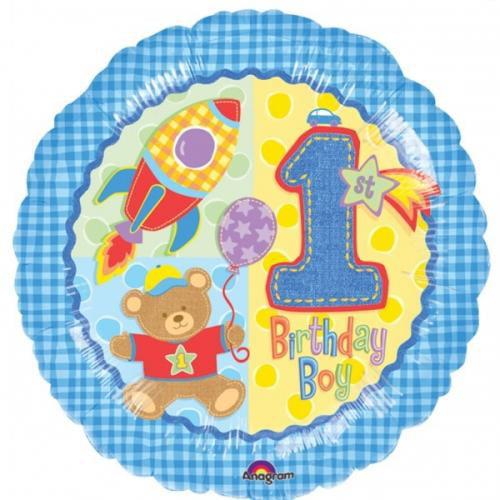 1st Birthday Hugs & Stitches Teddy Bear Foil Mylar Balloon (1ct)
