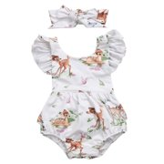 StylesILove Infant Baby Girl Ruffled Cap Sleeve Sunsuit Romper with Self-tied Headband 2 pcs Outfit Set (90/9-12 Months)