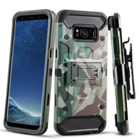 Galaxy S8 Case, TownShop Hybrid Kickstand Cover with Belt Clip Holster Case for Samsung Galaxy S8 - Green Camo