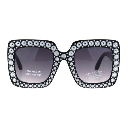 1e56ee4cda55 SA106 - Kids Size Girls Bling Concave Engraving Iced Out Rectangular  Butterfly Sunglasses Black Smoke - Walmart.com