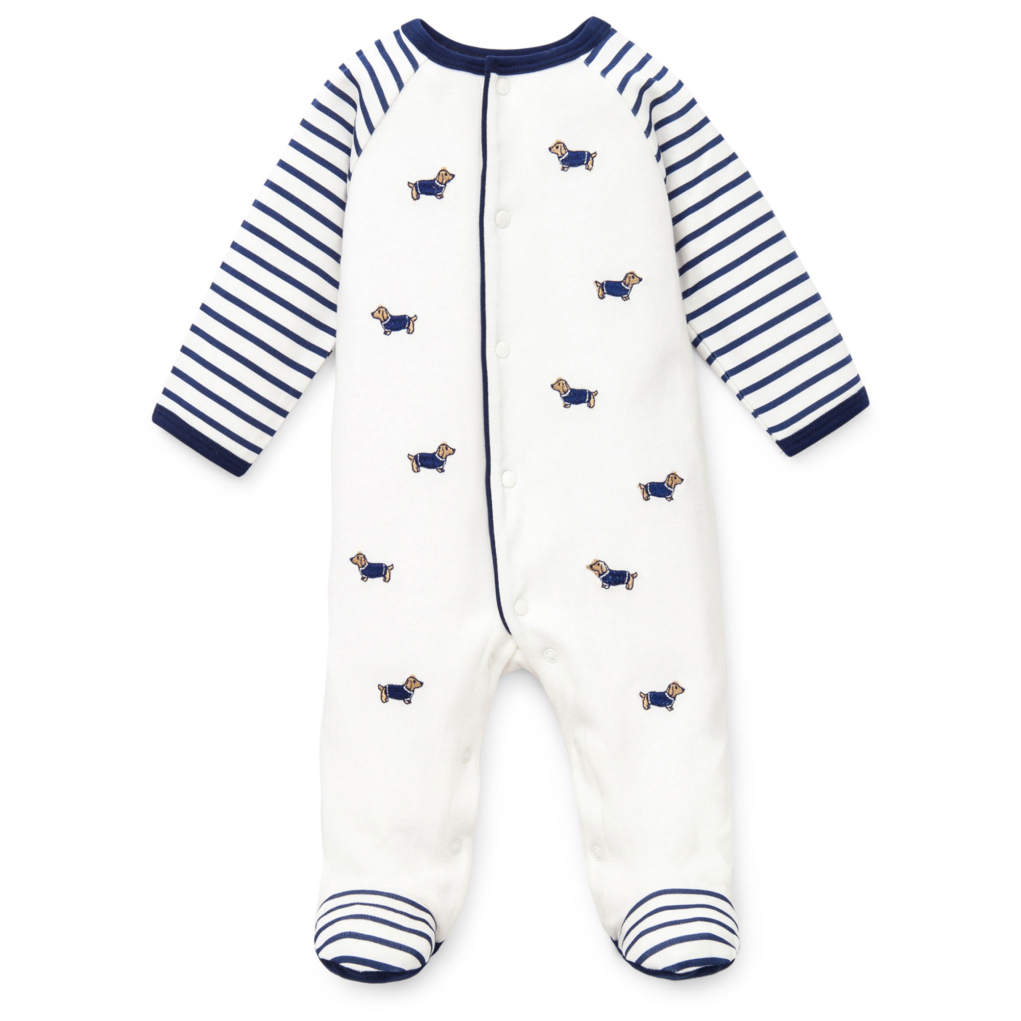 0602472e21 Little Me Dachshund Dog Snap Front Footie Pajamas For Baby Boys Sleep N  Play One Piece Romper Coverall Infant Footed Sleeper  Pijamas Para Bebes -  White ...