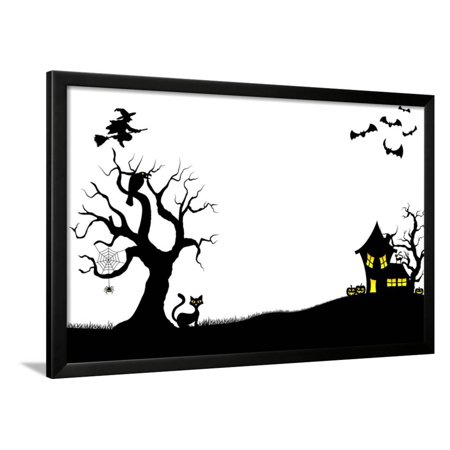Halloween Silhouette Background Framed Print Wall Art By antimartina