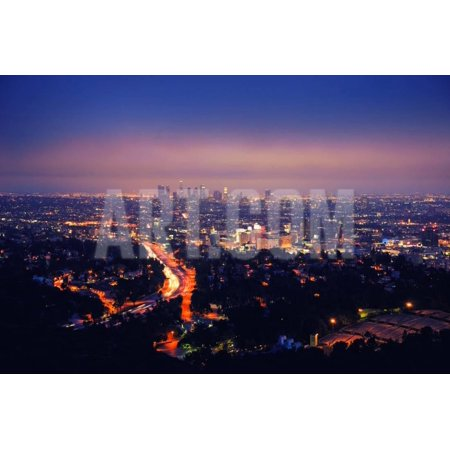 Los Angeles Skyline at Night, View from Hollywood Hills towards 101 Freeway and Downtown. Print Wall Art By logoboom