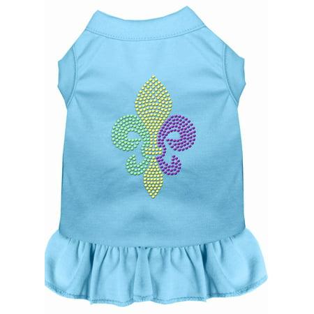 Mardi Gras Fleur De Lis Rhinestone Dress Baby Blue Med (12) - Mardi Gras Dress Ideas