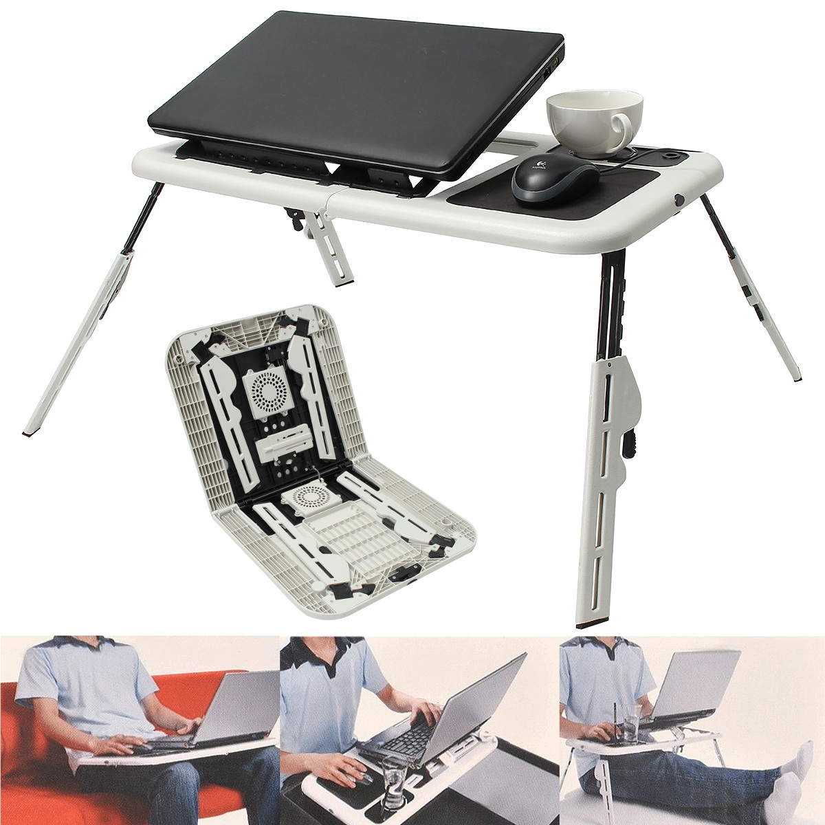 Laptop Lap Desk Foldable Table e-Table Bed with USB Cooling Fans Stand TV Tray by