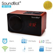 SoundBot SB1025 Alarm Clock FM Radio Bluetooth Wireless Portable Speaker
