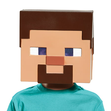 Minecraft Steve Vacuform Mask Adult Halloween Accessory - Halloween Map Minecraft Pe