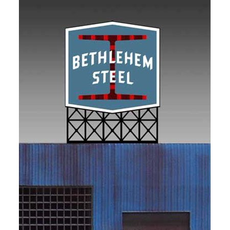 5281 Lg Model Bethlehem Steel Animated & Lighted Sign by Miller Signs, Suitable for ho scale, s scale, o scale, 3w x 3. 8t, limited edition sign. By Miller Engineering