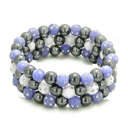 - Amulets Set of 3 Individual Simulated Hematite Magnetic Bracelets Purple White Sparkling Beads Crystals