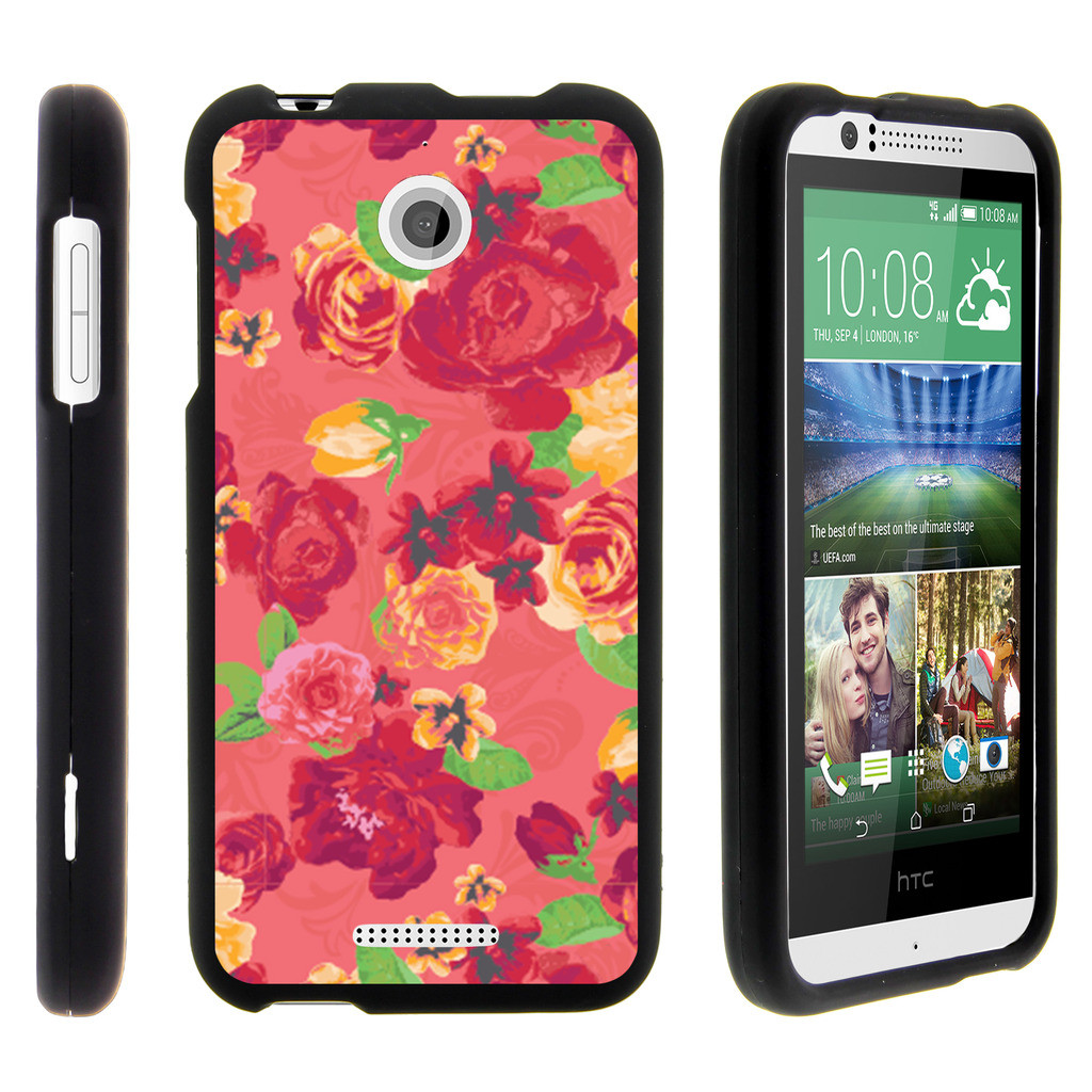 HTC Desire 510, [SNAP SHELL][Matte Black] 2 Piece Snap On Rubberized Hard Plastic Cell Phone Case with Exclusive Art - Fruity Rose Pattern