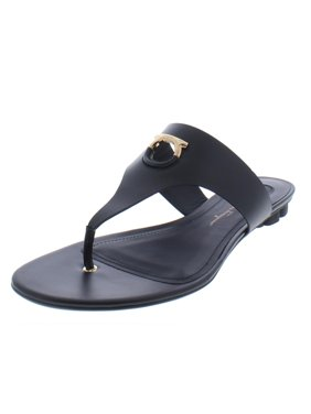 8ba6aa91caa2 Product Image Salvatore Ferragamo Womens Enfola Leather Flat Sandals Black  9 Medium (B