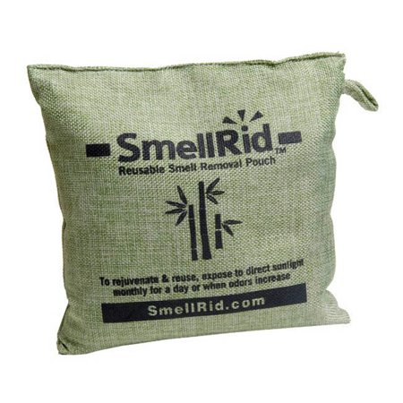 SMELLRID Reusable Bamboo Charcoal Odor Eliminator Pouch X Large (6 x 6 inches): Treats Up to 150 sq. ft. to Rid Tough Smells &
