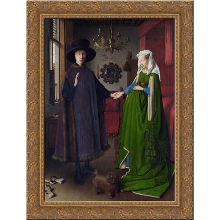 The Arnolfini Wedding. The Portrait of Giovanni Arnolfini and his Wife Giovanna Cenami (The Arnolfini Marriage) 24x18 Gold Ornate Wood Framed Canvas Art by Jan van (Giovanni Arnolfini And His Wife Giovanna Cenami)