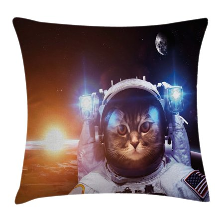 Space Cat Throw Pillow Cushion Cover  Kitten In Space Suit Sun Lunar Eclipse Over Planet Stars Image  Decorative Square Accent Pillow Case  20 X 20 Inches  White Orange And Dark Blue  By Ambesonne