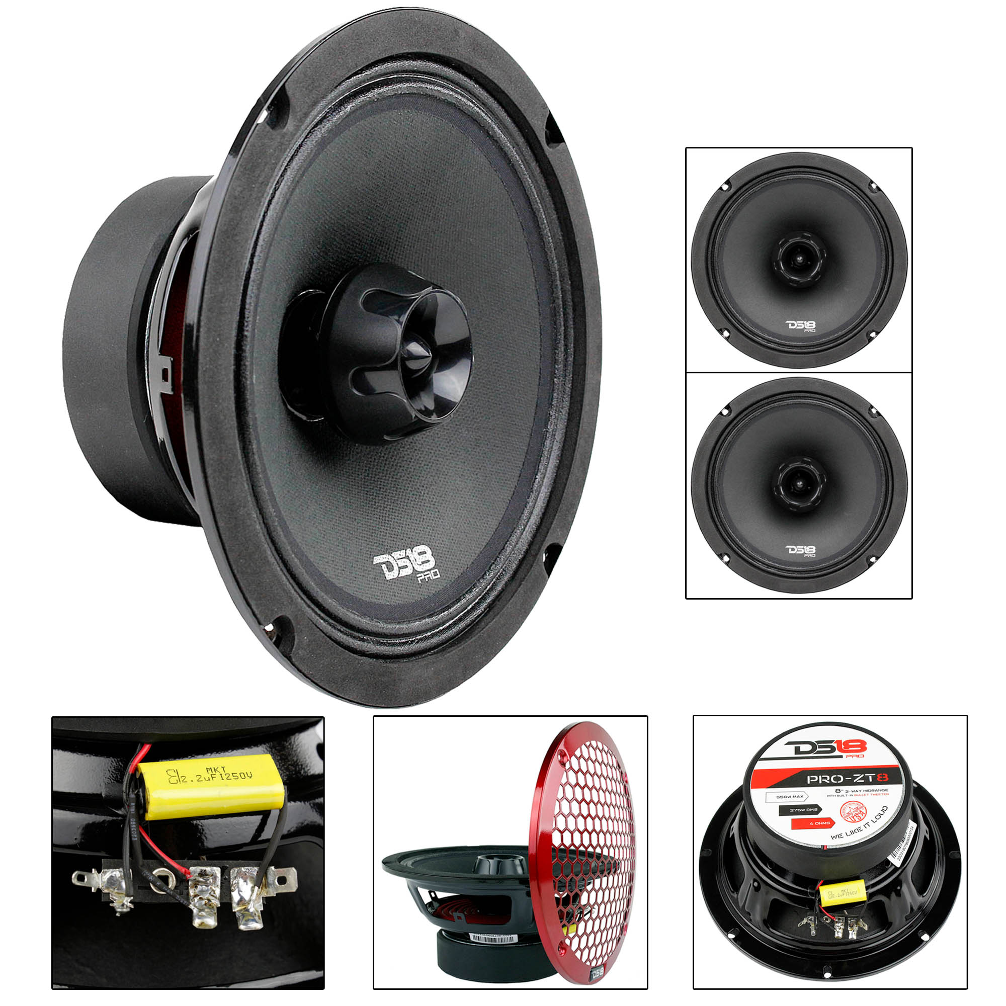 "2 Pack 8"" Midrange Speaker Built In Tweeter 550 Watts Max 4 ohm DS18 PRO-ZT8"