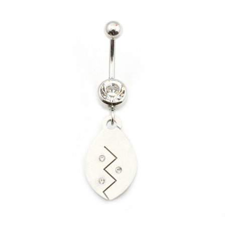 Belly Button Ring with Drop Dangle and Cubic Zirconia Stone 14g
