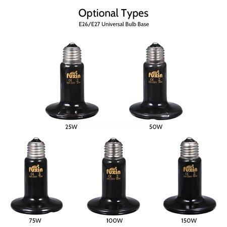 AC110-120V 100W Ceramic Heat Emitter Light Pet Reptile Broder Lamp Bulb E26/E27 Base Holder Socket Portable