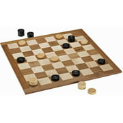 """Classic Checkers Set, Black and Natural Pieces with Solid Wood Board, 18"""""""