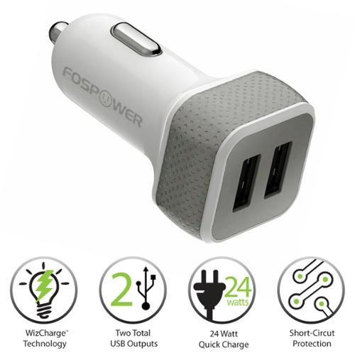 FosPower (24W/4.8A Output) 2 USB Port Car Charger for iPhone 6S 6 Plus SE 5 5S, iPad, Galaxy S7 S6 Edge Note 5 4 - White