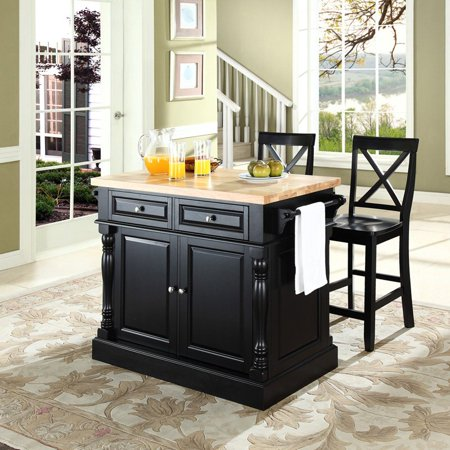 Crosley Butcher Block Top Kitchen Island With 24 In X Back Stools