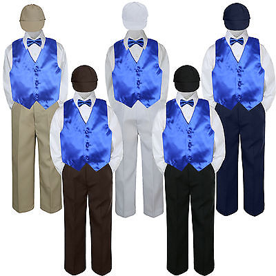 5pc Baby Toddler Boy Classic Suit NAVY Pants Shirt Vest Bow tie hat Set SM-4T