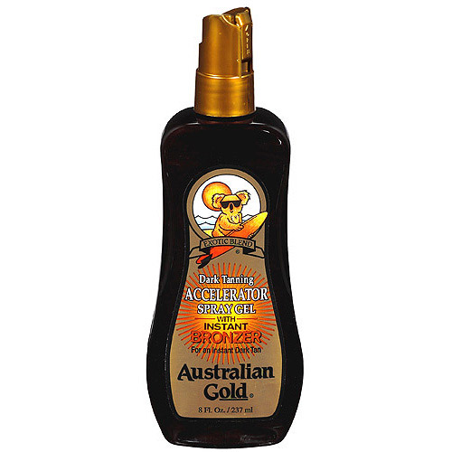 Tanning Oil Accelerator Spray Gel with Instant Bronzer Australian Gold Exotic Dark, 8 fl oz