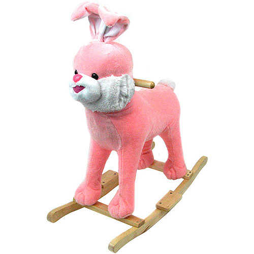 Happy Trails Plush Rocking Animal with Sounds, Pink Bunny