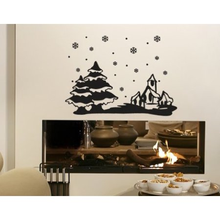 Snowscape with Christmas Trees Wall Decal - Wall Sticker, Vinyl Wall ...