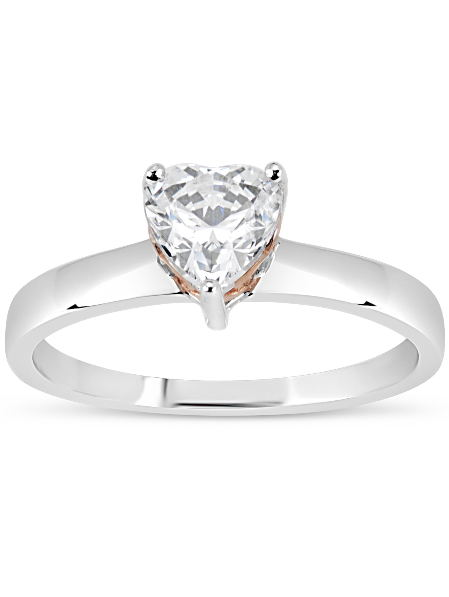 c49267e61 6mm White Heart Swarovski CZ Sterling Silver Two-Tone Rhodium and 18kt Rose  Gold-Plated Filigree Sides Gradual Shank Ring