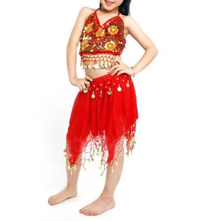 BellyLady Kid Egyptian Belly Dance Costume, Skirt & Halter Top Sets, Red - Belly Dance Costume