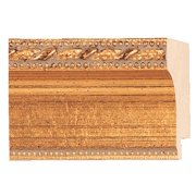 "Picture Frame Moulding (Wood) - Traditional Antique Gold Finish - 1.5"" width - 3/8"" rabbet depth"