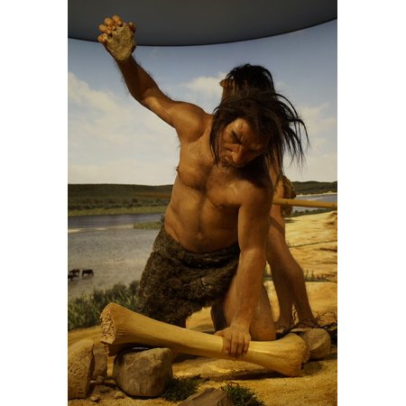 Canvas Print Stone Age Caveman Ancestor Hunting Neanderthal Stretched Canvas 10 x 14