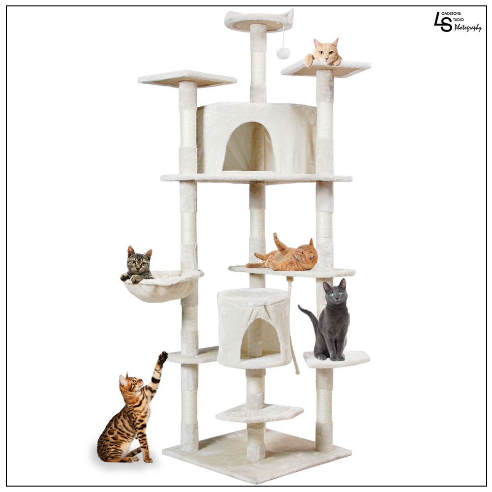 "Loadstone Studio 80"" Cat Kitten Tree Scratcher Play House Condo Furniture Toy Bed Post House Cream Ivory, Large,WMLS1859"