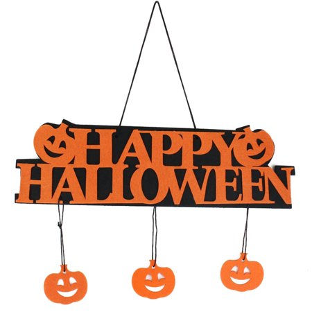 Halloween Hanging Tag with Happy Halloween Sign and Pumpkin Decoration Props for Window Home Fireplace (Orange)
