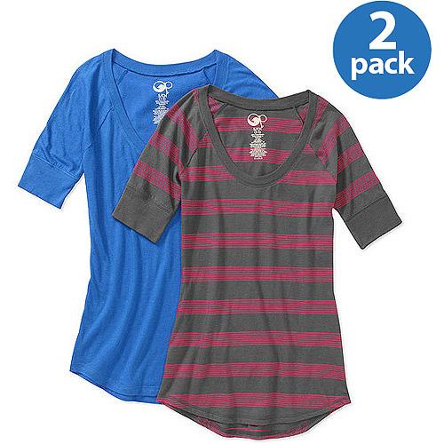 OP Juniors Plus 3/4 Sleeve Tee 2-Pack